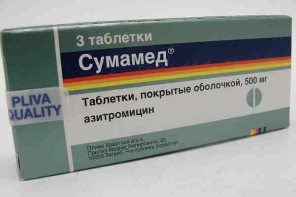 Сумамед в таблетках при ангине